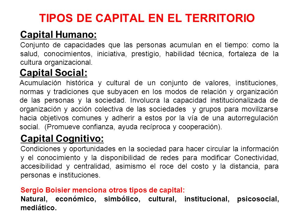 TIPOS DE CAPITAL EN EL TERRITORIO