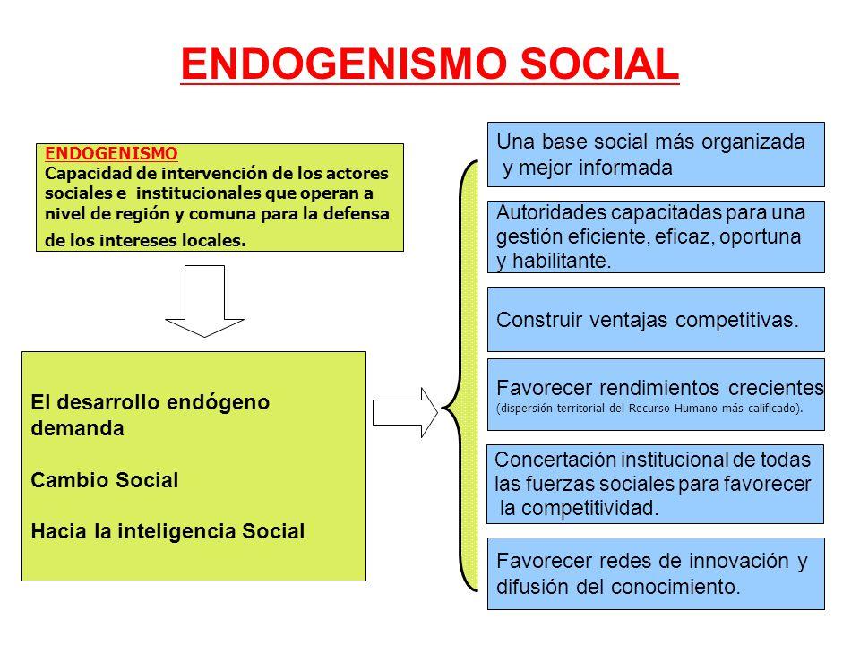 ENDOGENISMO SOCIAL Una base social más organizada y mejor informada
