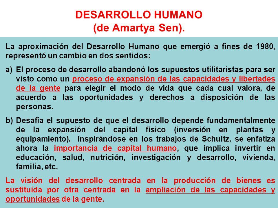 DESARROLLO HUMANO (de Amartya Sen).