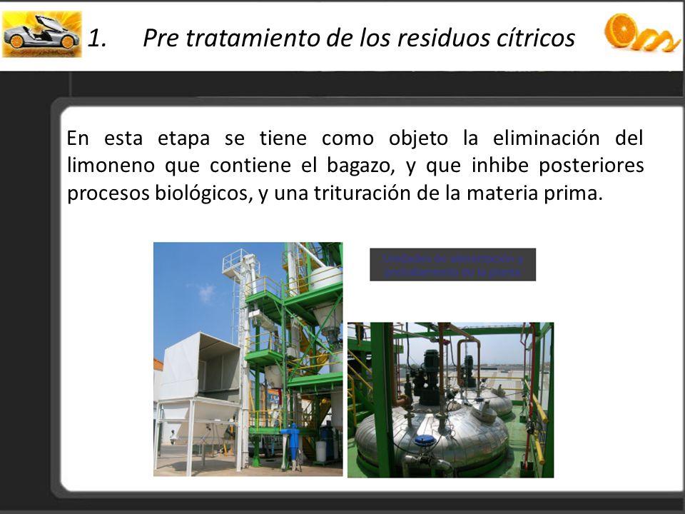 Pre tratamiento de los residuos cítricos
