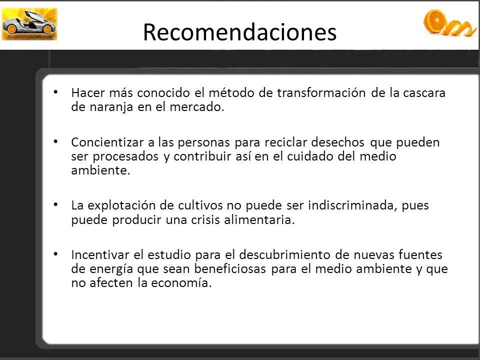 Recomendaciones Hacer más conocido el método de transformación de la cascara de naranja en el mercado.