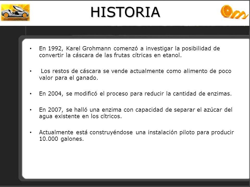 HISTORIA En 1992, Karel Grohmann comenzó a investigar la posibilidad de convertir la cáscara de las frutas cítricas en etanol.