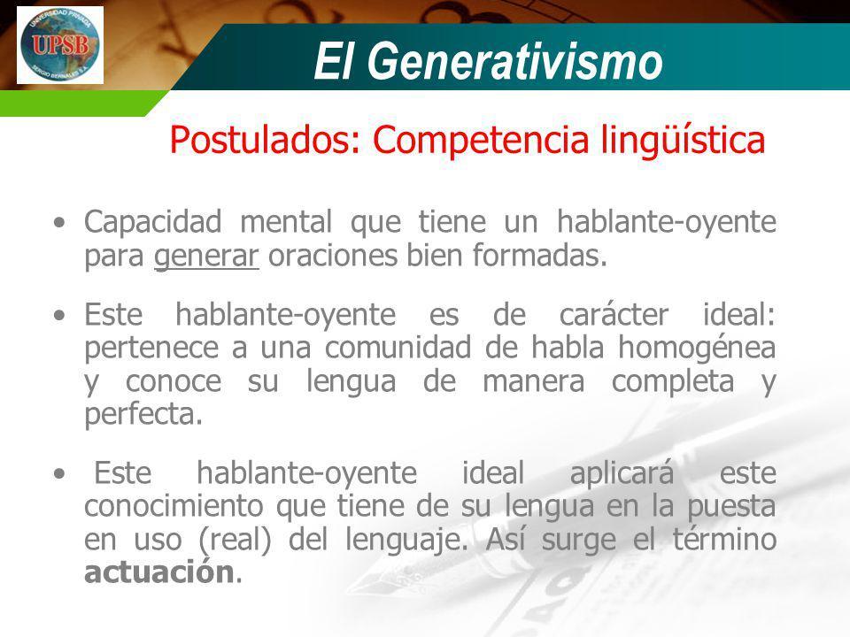Postulados: Competencia lingüística
