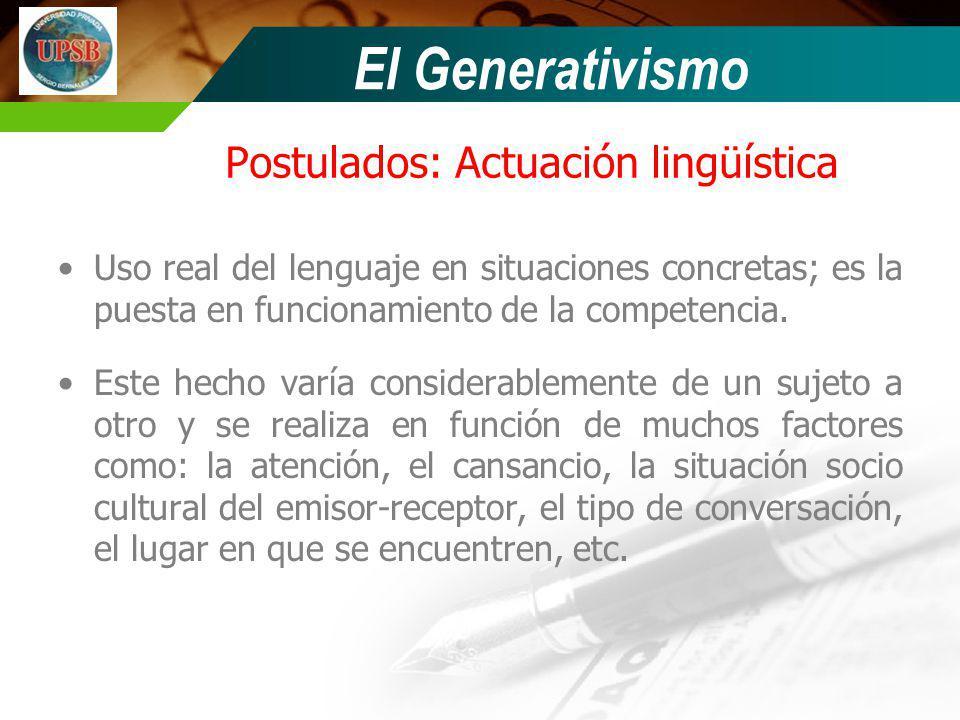 Postulados: Actuación lingüística