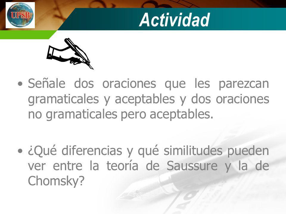 Actividad Señale dos oraciones que les parezcan gramaticales y aceptables y dos oraciones no gramaticales pero aceptables.