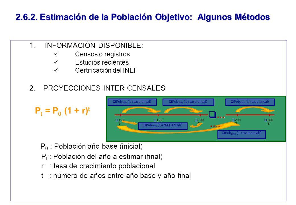 2.6.2. Estimación de la Población Objetivo: Algunos Métodos