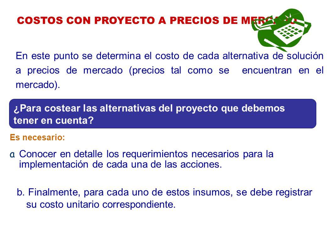 COSTOS CON PROYECTO A PRECIOS DE MERCADO