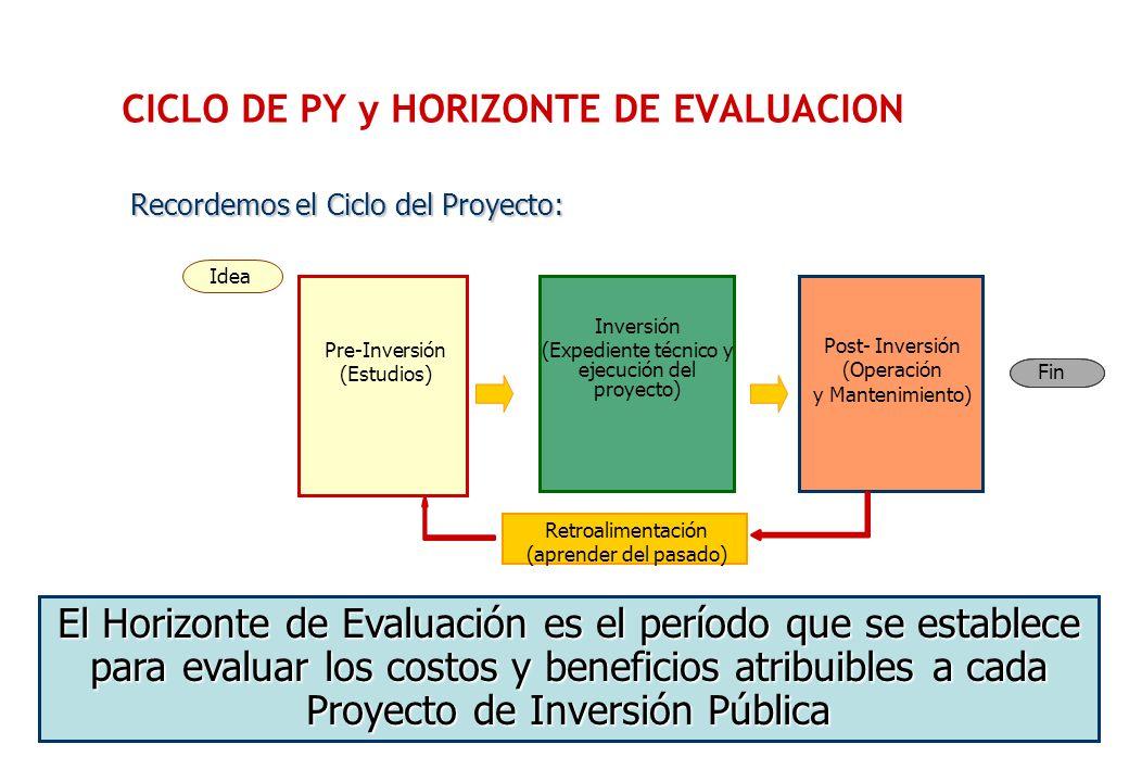 CICLO DE PY y HORIZONTE DE EVALUACION