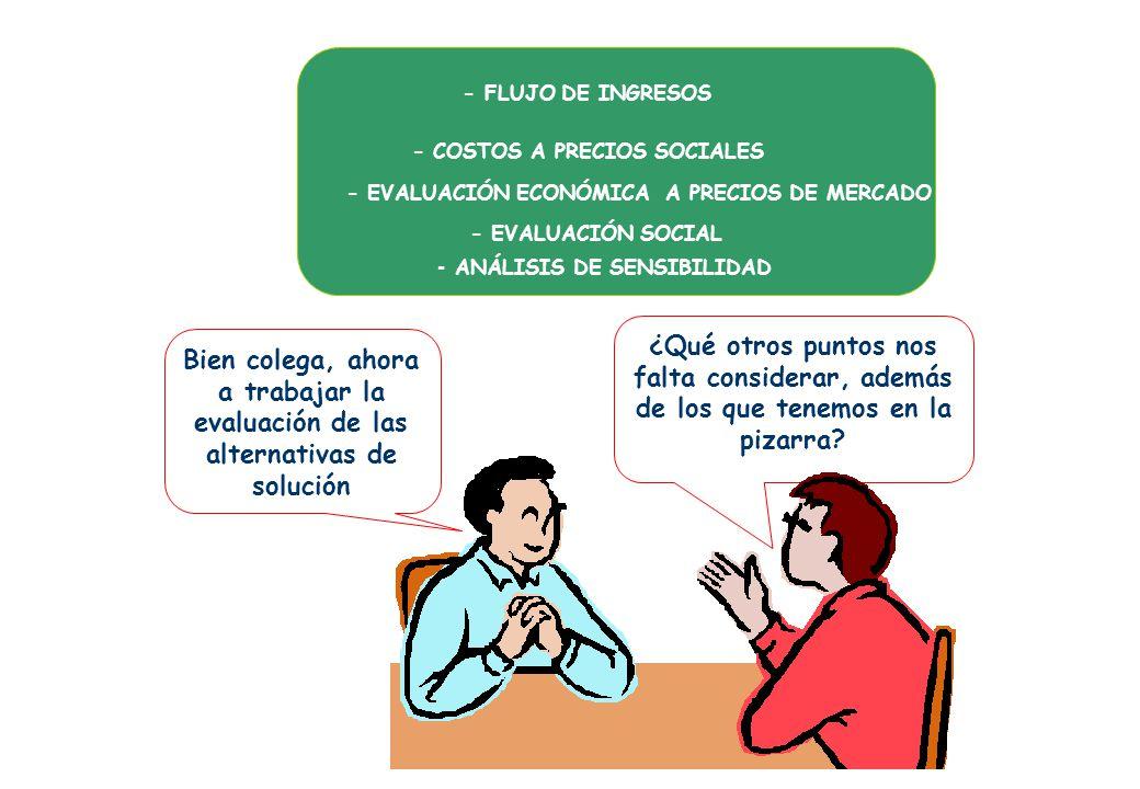 - FLUJO DE INGRESOS - COSTOS A PRECIOS SOCIALES. - EVALUACIÓN ECONÓMICA A PRECIOS DE MERCADO. - EVALUACIÓN SOCIAL.