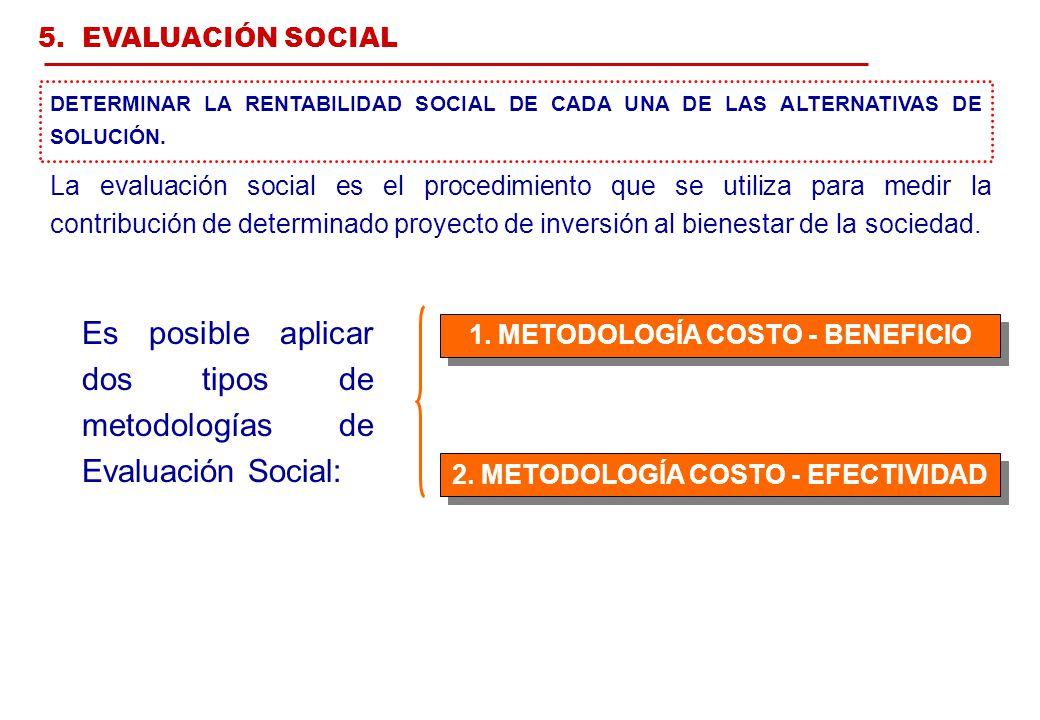 1. METODOLOGÍA COSTO - BENEFICIO 2. METODOLOGÍA COSTO - EFECTIVIDAD