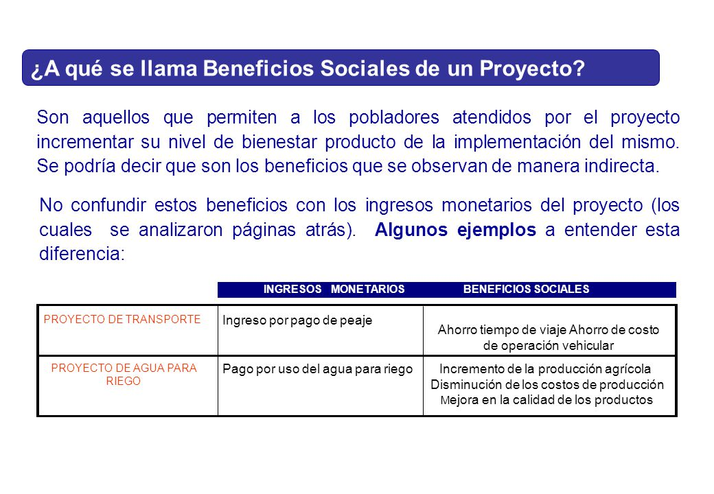 ¿A qué se llama Beneficios Sociales de un Proyecto