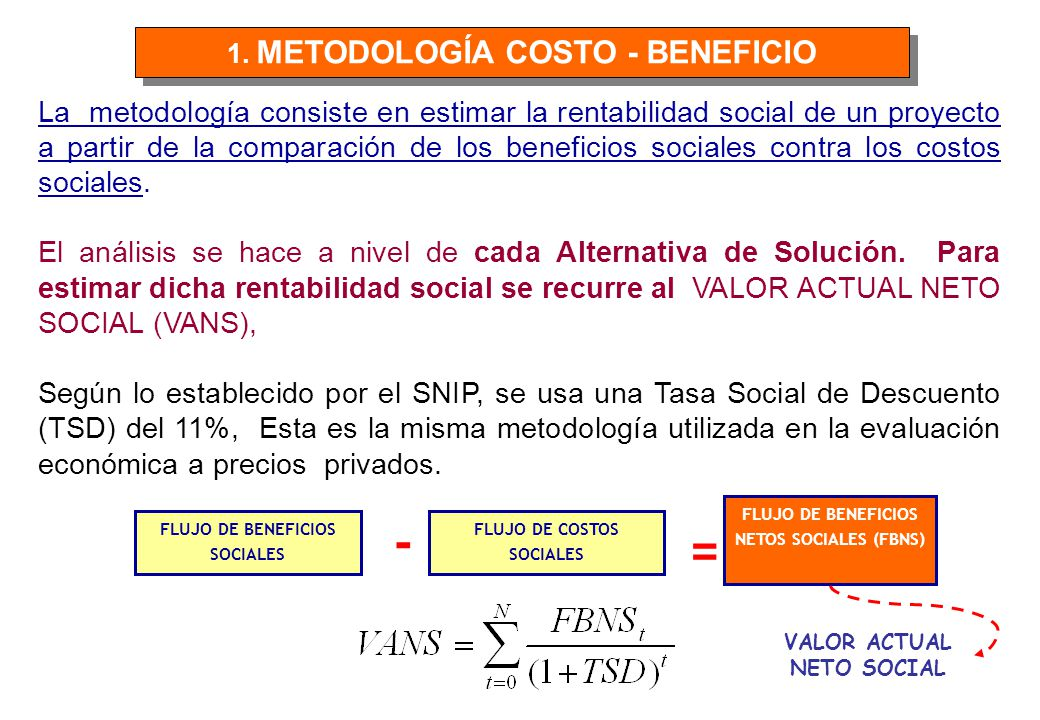 1. METODOLOGÍA COSTO - BENEFICIO
