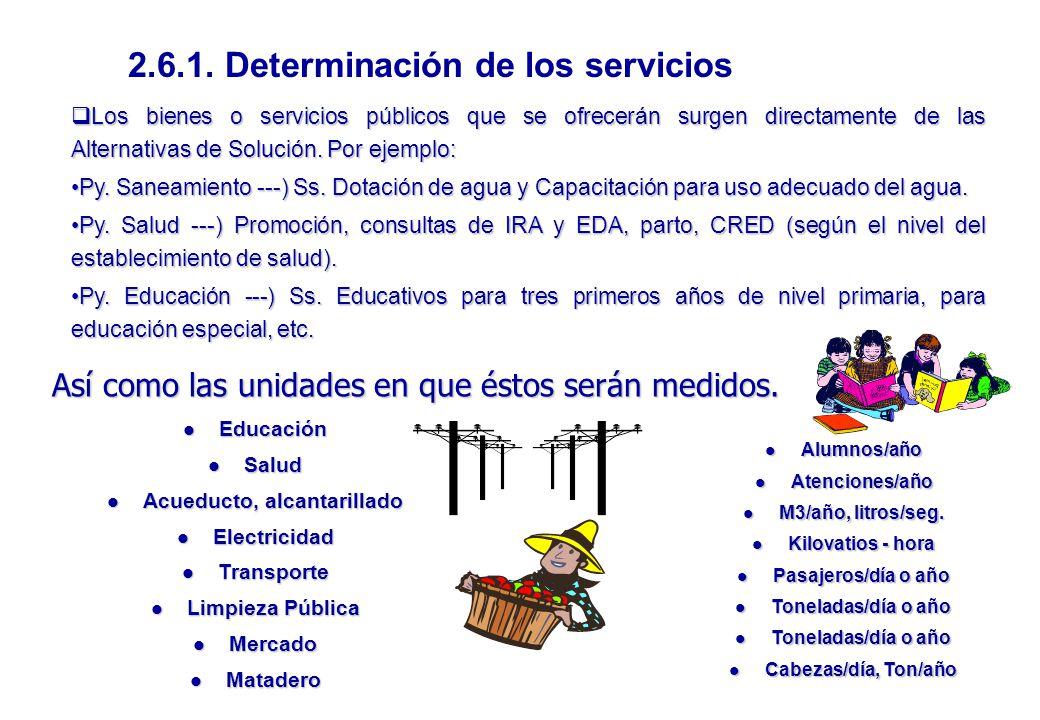 2.6.1. Determinación de los servicios Acueducto, alcantarillado