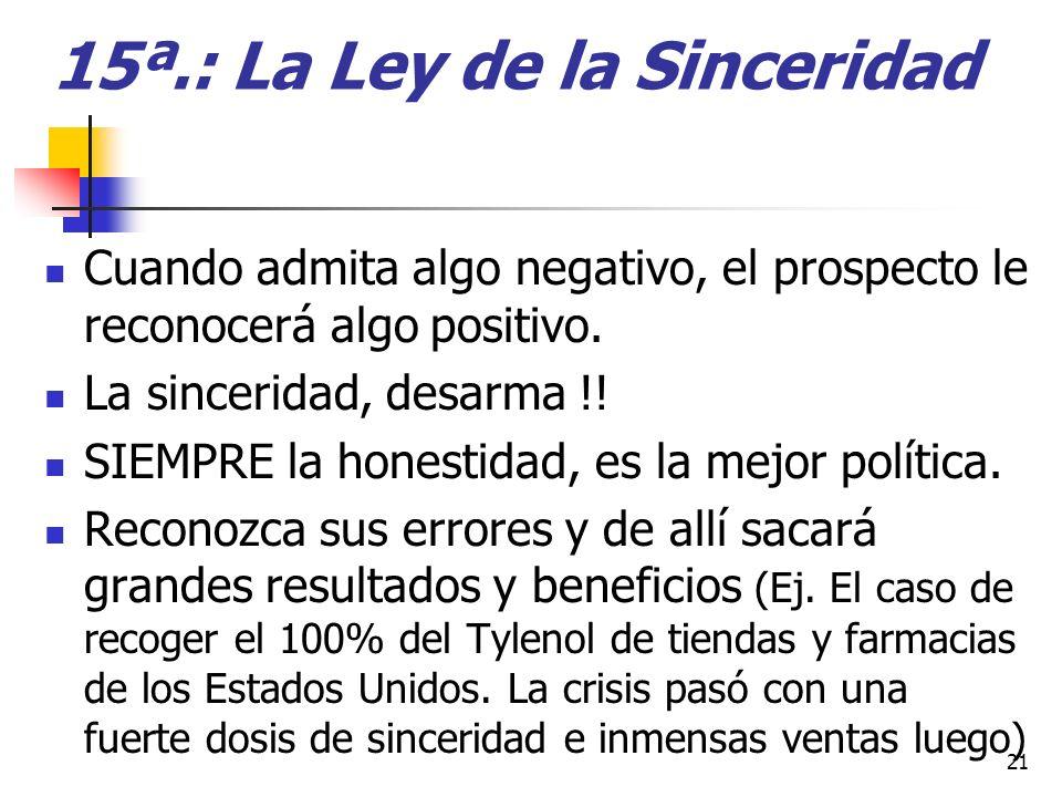 15ª.: La Ley de la Sinceridad