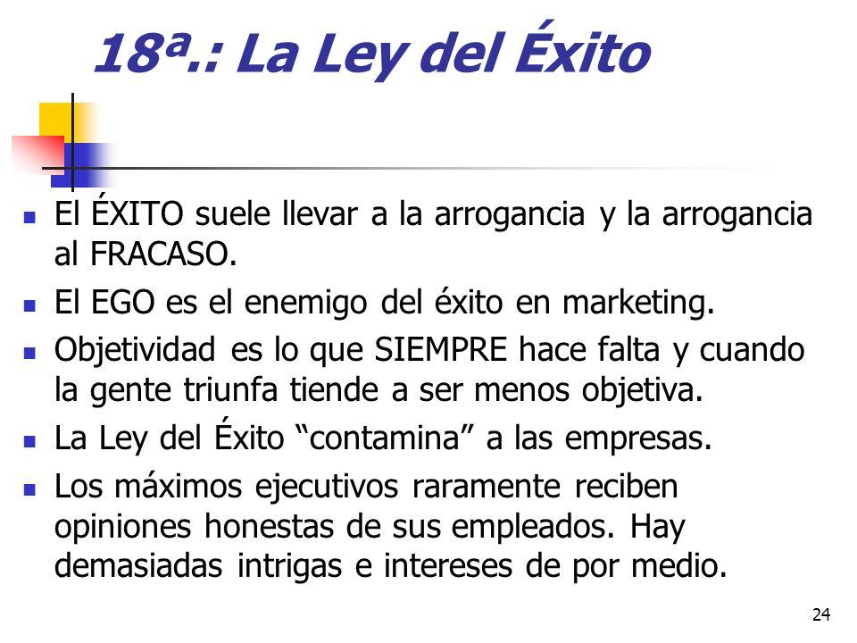 18ª.: La Ley del Éxito El ÉXITO suele llevar a la arrogancia y la arrogancia al FRACASO. El EGO es el enemigo del éxito en marketing.