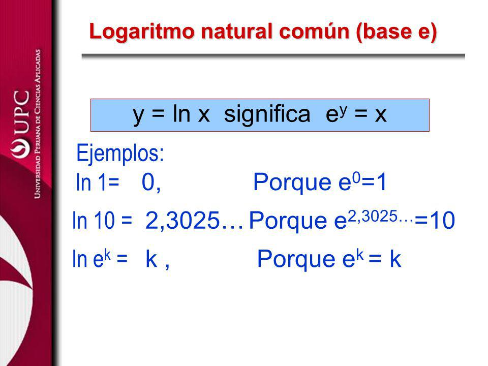Logaritmo natural común (base e)