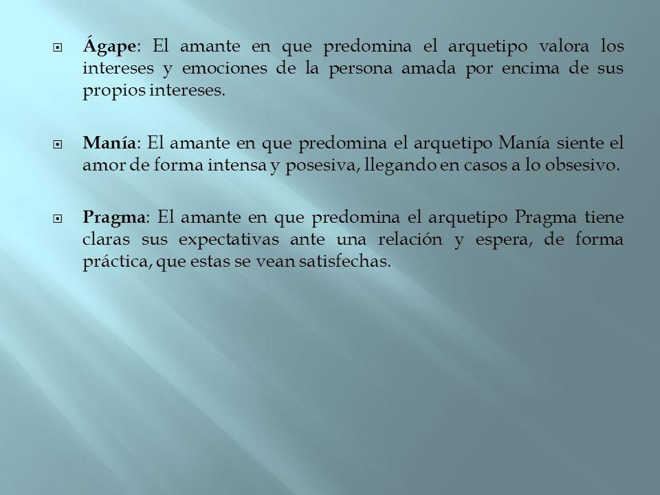 Ágape: El amante en que predomina el arquetipo valora los intereses y emociones de la persona amada por encima de sus propios intereses.