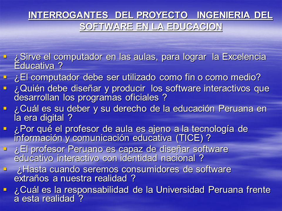 INTERROGANTES DEL PROYECTO INGENIERIA DEL SOFTWARE EN LA EDUCACION