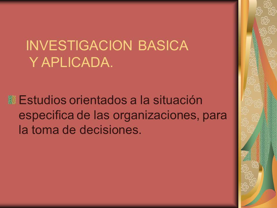 INVESTIGACION BASICA Y APLICADA.