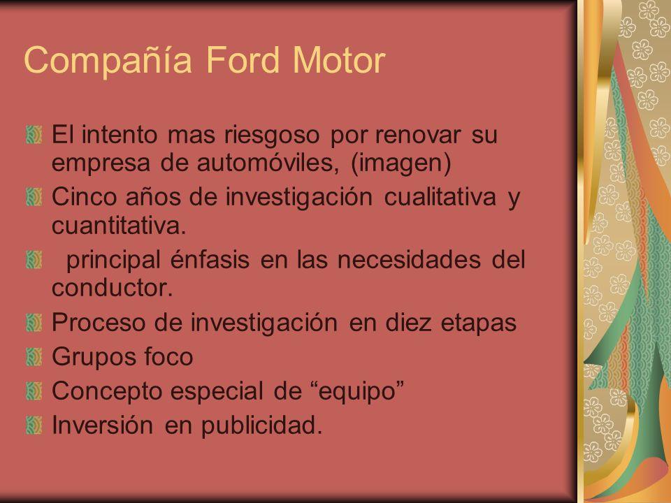 Compañía Ford MotorEl intento mas riesgoso por renovar su empresa de automóviles, (imagen) Cinco años de investigación cualitativa y cuantitativa.