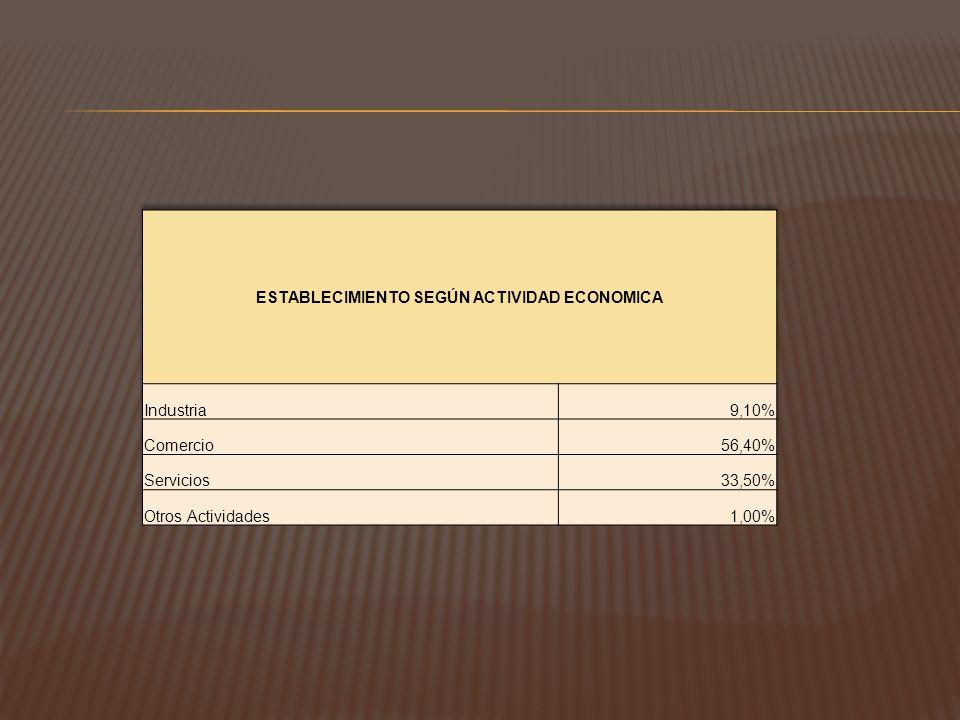 ESTABLECIMIENTO SEGÚN ACTIVIDAD ECONOMICA