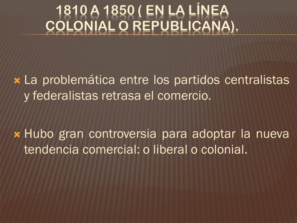 1810 a 1850 ( en la línea colonial o republicana).