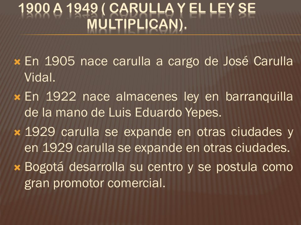 1900 a 1949 ( Carulla y el Ley se multiplican).