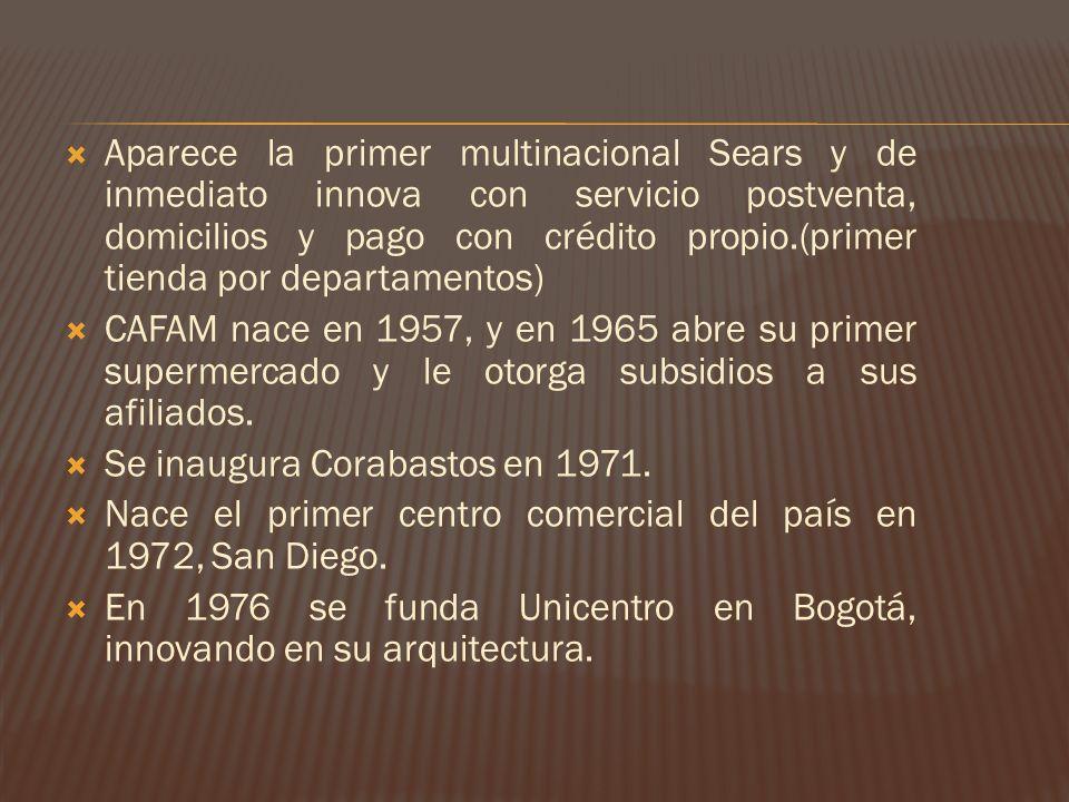 Aparece la primer multinacional Sears y de inmediato innova con servicio postventa, domicilios y pago con crédito propio.(primer tienda por departamentos)