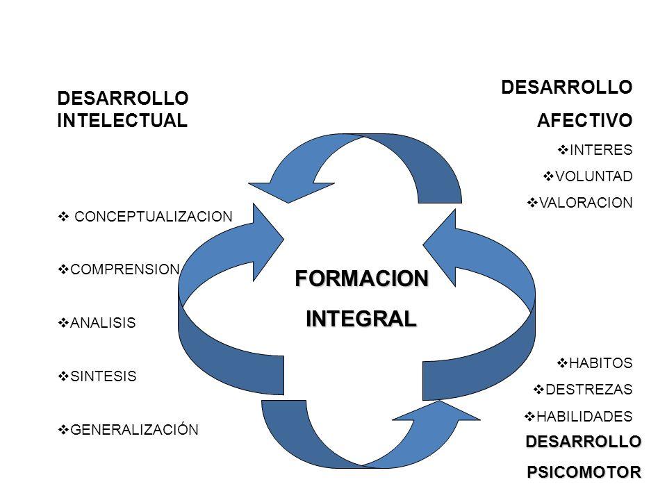 FORMACION INTEGRAL DESARROLLO AFECTIVO DESARROLLO INTELECTUAL
