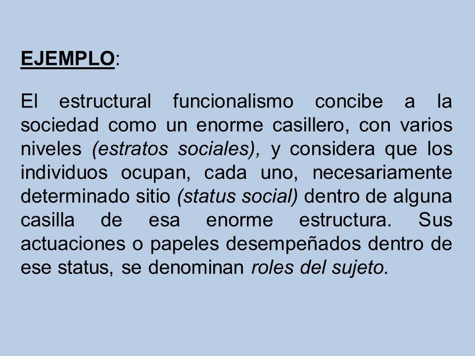 EJEMPLO: El estructural funcionalismo concibe a la sociedad como un enorme casillero, con varios niveles (estratos sociales), y considera que los individuos ocupan, cada uno, necesariamente determinado sitio (status social) dentro de alguna casilla de esa enorme estructura.