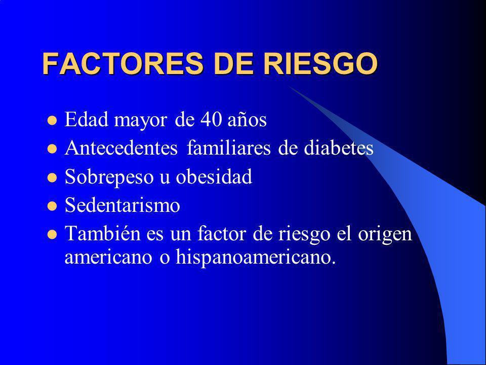 FACTORES DE RIESGO Edad mayor de 40 años
