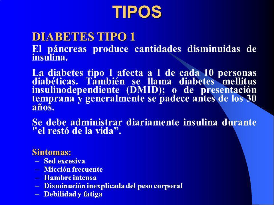 TIPOS DIABETES TIPO 1. El páncreas produce cantidades disminuidas de insulina.