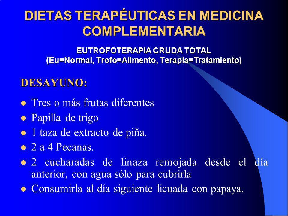DIETAS TERAPÉUTICAS EN MEDICINA COMPLEMENTARIA EUTROFOTERAPIA CRUDA TOTAL (Eu=Normal, Trofo=Alimento, Terapia=Tratamiento)
