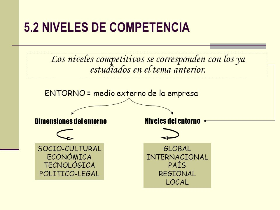 5.2 NIVELES DE COMPETENCIA