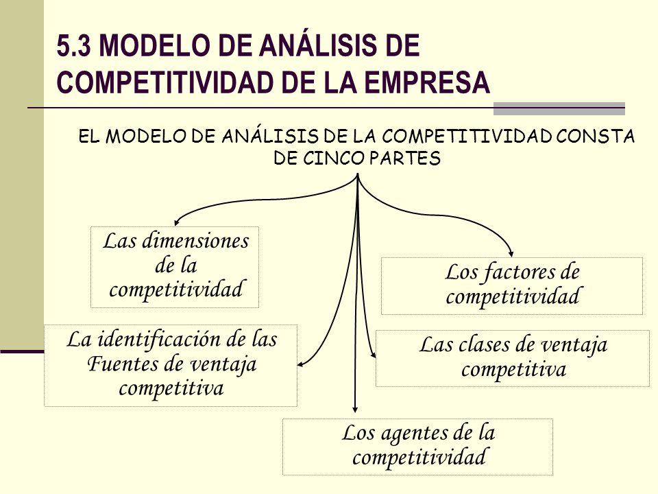 5.3 MODELO DE ANÁLISIS DE COMPETITIVIDAD DE LA EMPRESA