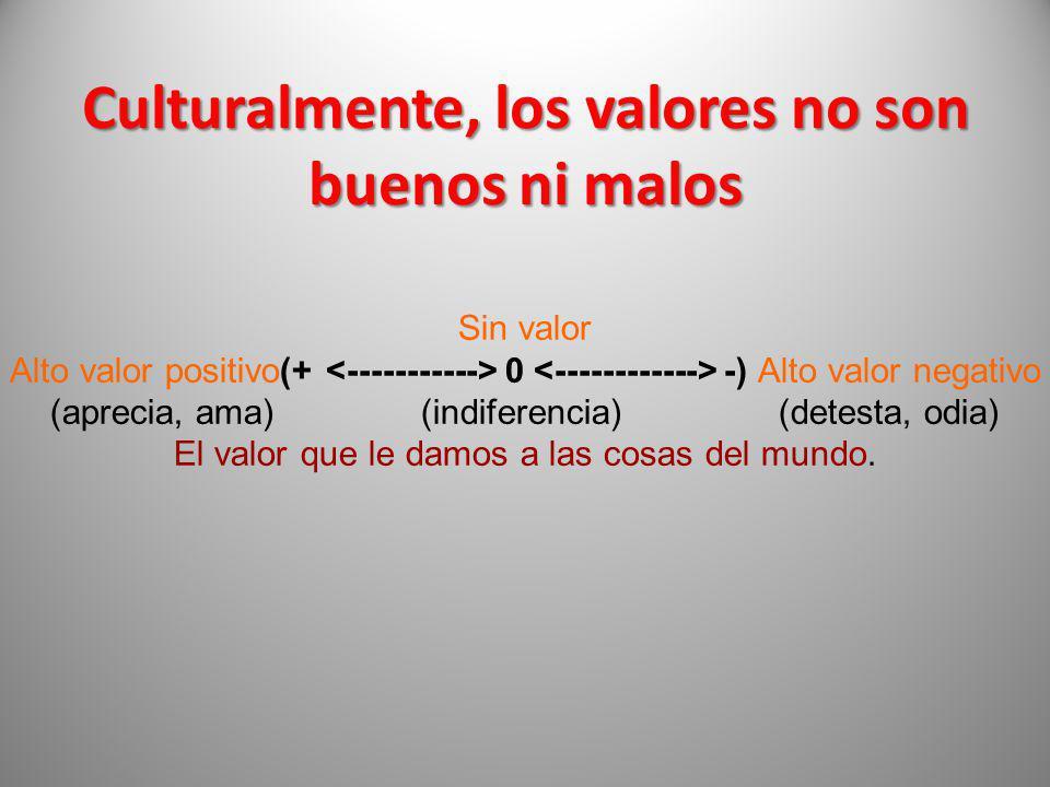 Culturalmente, los valores no son buenos ni malos