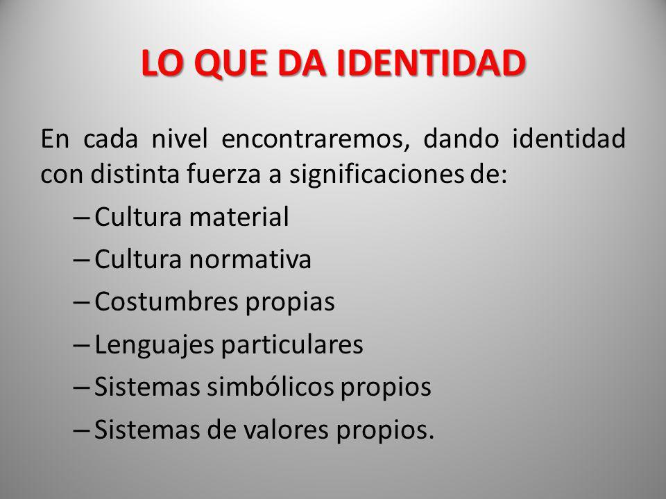 LO QUE DA IDENTIDAD En cada nivel encontraremos, dando identidad con distinta fuerza a significaciones de:
