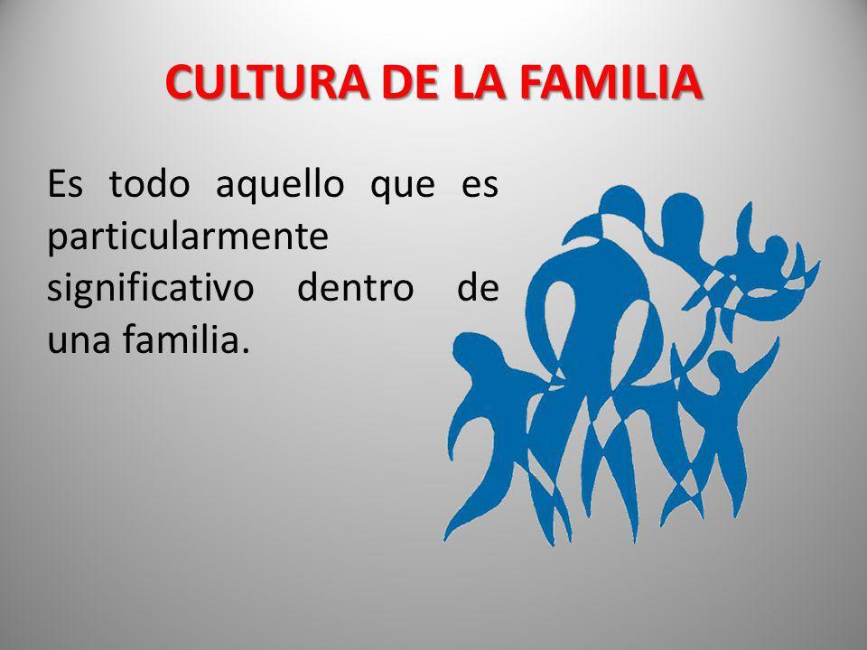 CULTURA DE LA FAMILIA Es todo aquello que es particularmente significativo dentro de una familia.
