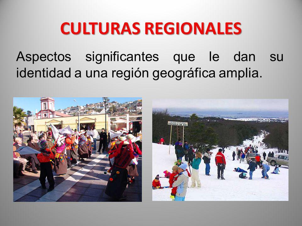 CULTURAS REGIONALES Aspectos significantes que le dan su identidad a una región geográfica amplia.