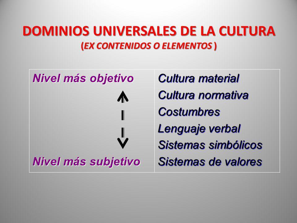 DOMINIOS UNIVERSALES DE LA CULTURA (EX CONTENIDOS O ELEMENTOS )