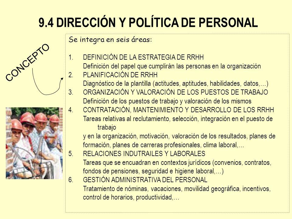9.4 DIRECCIÓN Y POLÍTICA DE PERSONAL