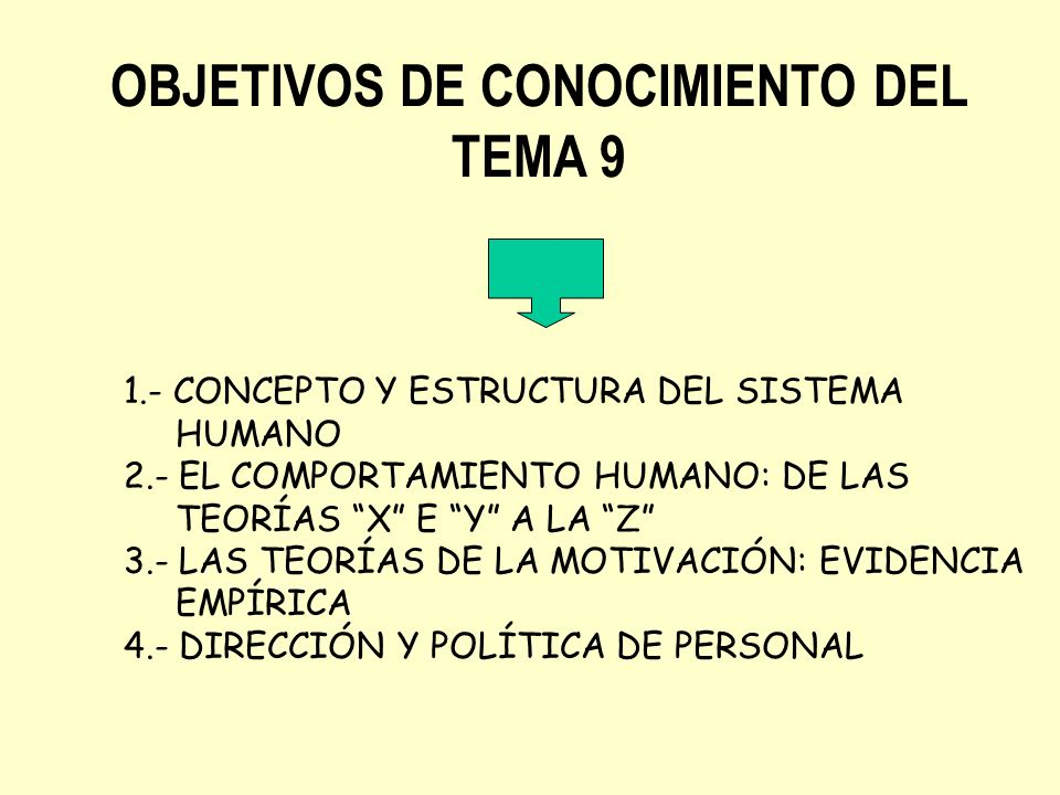 OBJETIVOS DE CONOCIMIENTO DEL TEMA 9