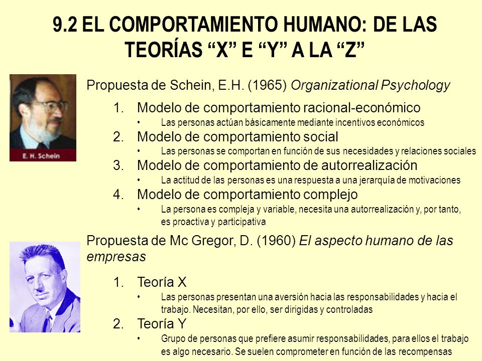 9.2 EL COMPORTAMIENTO HUMANO: DE LAS TEORÍAS X E Y A LA Z