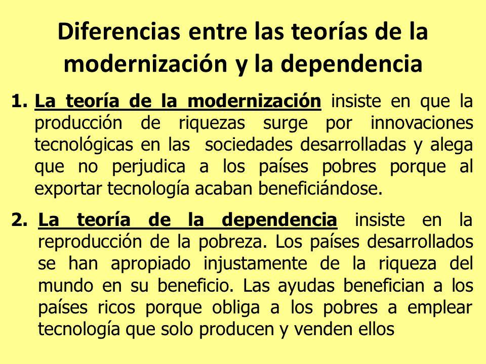 Diferencias entre las teorías de la modernización y la dependencia