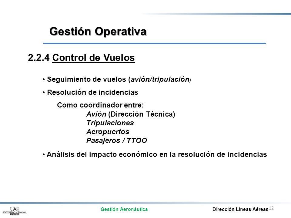 Gestión Operativa 2.2.4 Control de Vuelos Como coordinador entre: