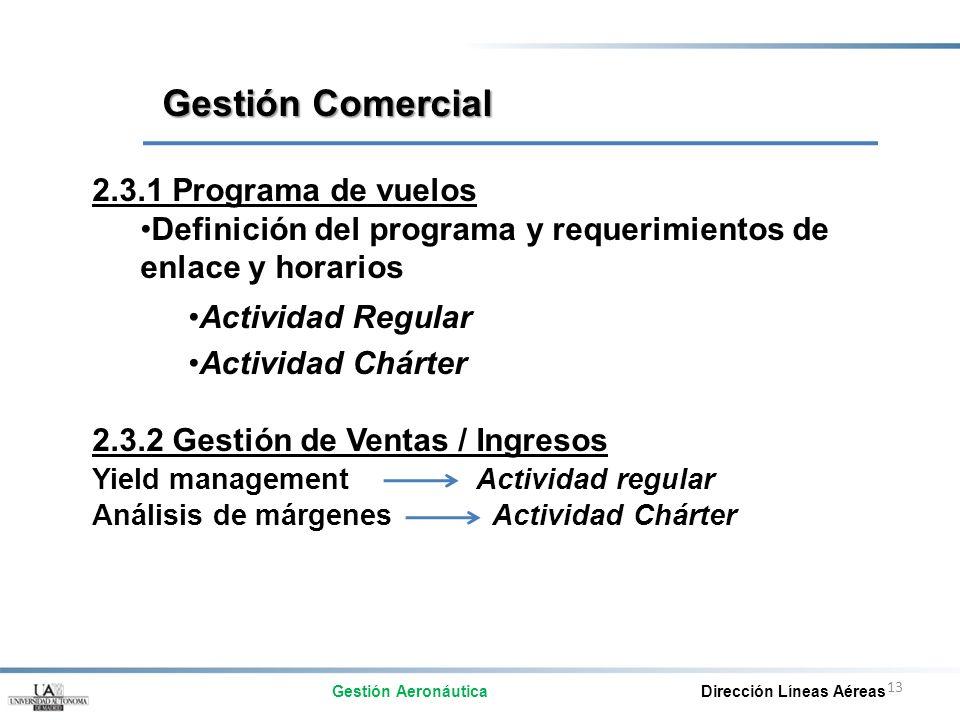 Gestión Comercial 2.3.1 Programa de vuelos