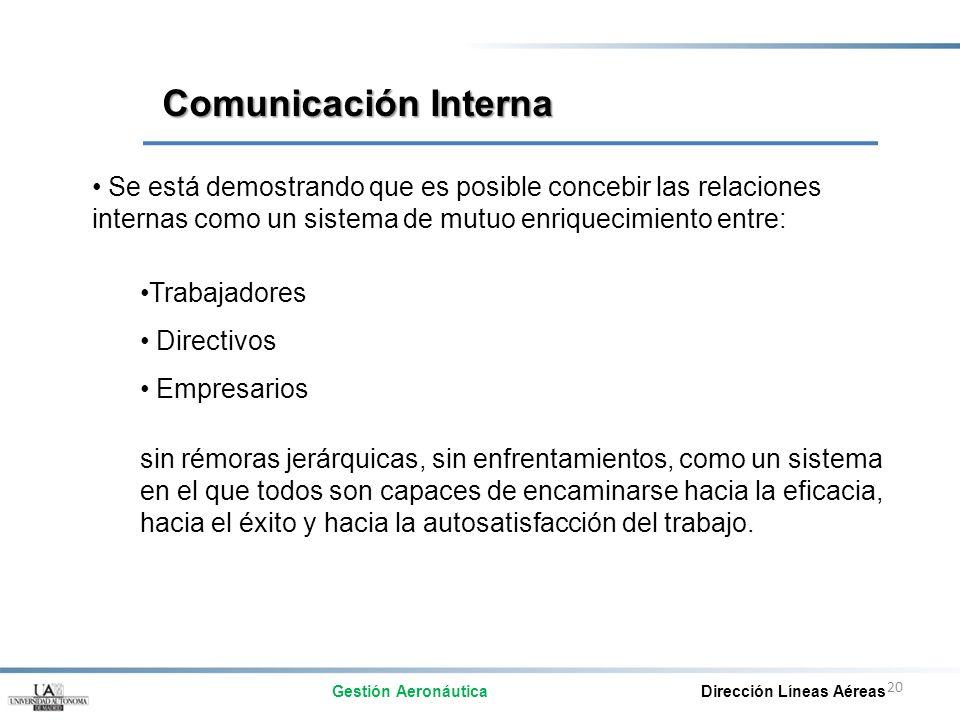 Comunicación Interna Se está demostrando que es posible concebir las relaciones internas como un sistema de mutuo enriquecimiento entre: