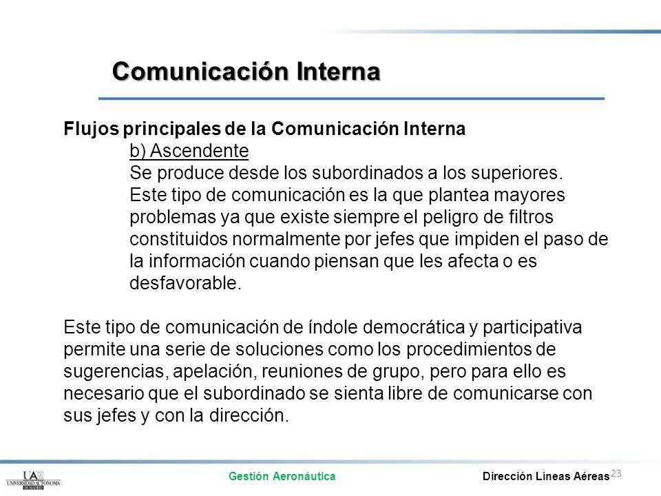 Comunicación Interna Flujos principales de la Comunicación Interna