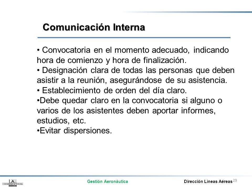 Comunicación Interna Convocatoria en el momento adecuado, indicando hora de comienzo y hora de finalización.