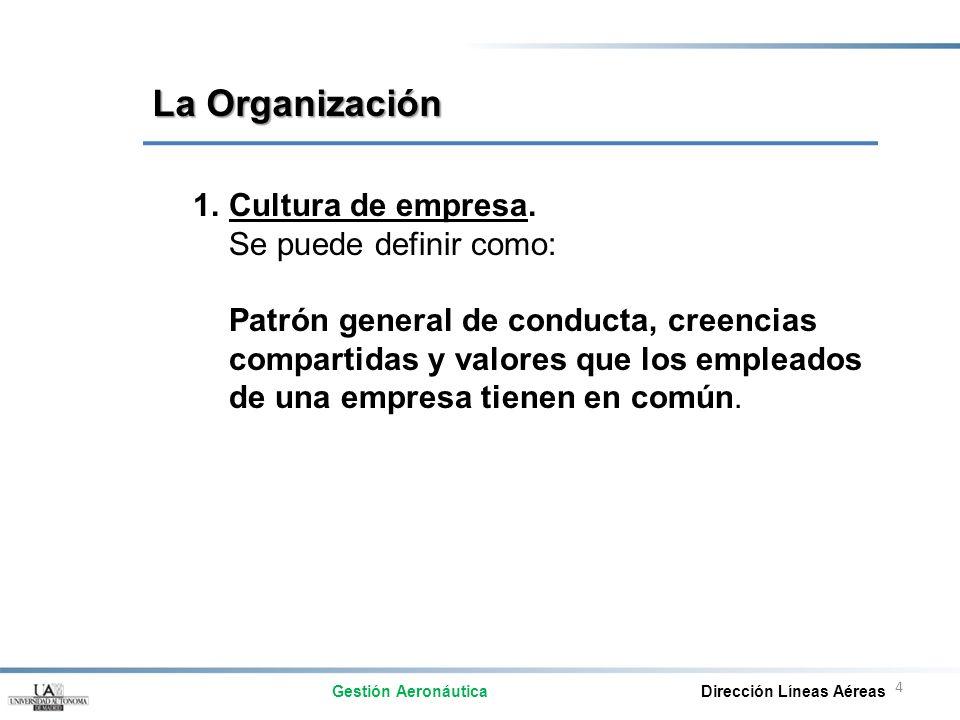 La Organización Cultura de empresa. Se puede definir como: